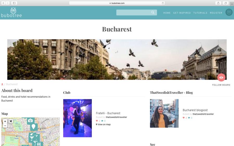 Bucharest board on Bubotree.com